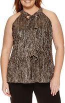 WORTHINGTON Worthington Sleeveless Knit Functional Bow Blouse-Plus