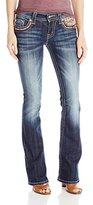 Miss Me Women's Colorful Embroidered Mid Rise Boot Cut Jean