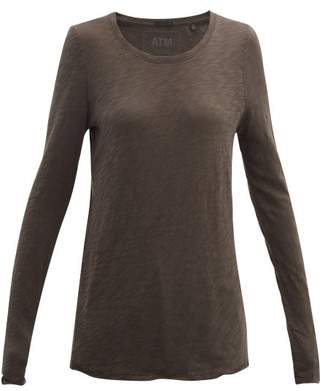 Atm - Distressed-hem Cotton-jersey Long Sleeve T-shirt - Womens - Grey