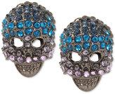Betsey Johnson Hematite-Tone Blue Crystal Pavé Skull Stud Earrings
