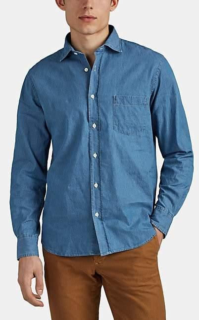 Hartford Men's Cotton Chambray Shirt - Blue