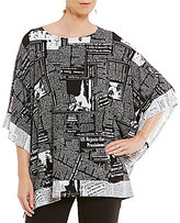 IC Collection Newspaper Print Poncho Top