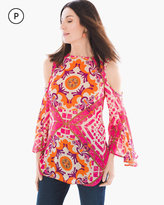 Chico's Vibrant Tiles Cold-Shoulder Top