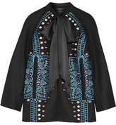 Temperley London Juniper Satin-trimmed Embroidered Wool And Cashmere-blend Jacket - Black