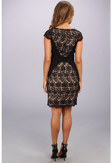 Jessica Simpson Cap Sleeve Fitted Dress With Contrast Panels