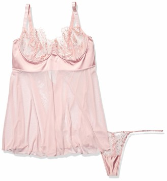 Coquette Women's Plus Size Diva Eyelash Lace Mesh Baby Doll and G-String