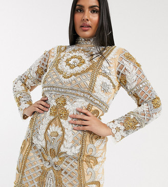 A Star Is Born Plus exclusive high-neck embellished mini dress in gold multi
