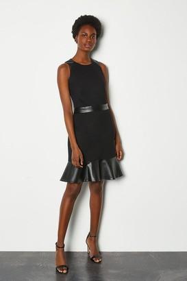Karen Millen Faux Leather & Ponte Flippy Hem Dress