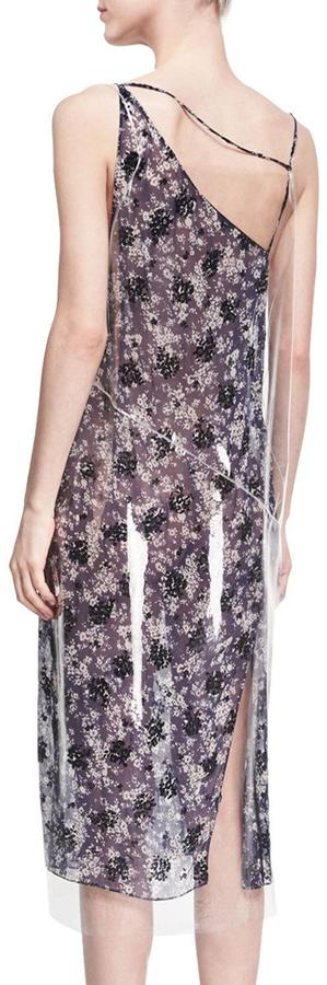 Calvin Klein Plastic-Covered Floral Slip Dress