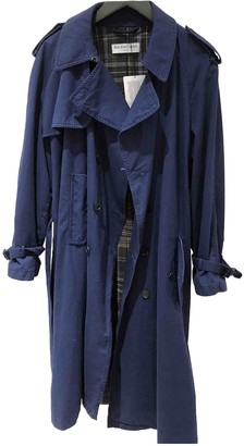 Balenciaga Navy Cotton Trench Coat for Women