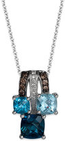 LeVian Le Vian Blue Topaz (2 ct. t.w.) and Diamond Accent (1/10 ct. t.w.) Pendant Necklace in 14k White Gold