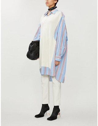 Maison Margiela Spliced striped knitted and cotton-poplin shirt dress