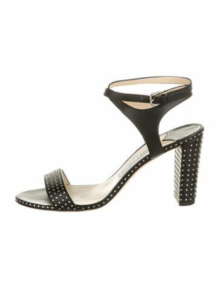 Jimmy Choo Leather Studded Accents Sandals Black