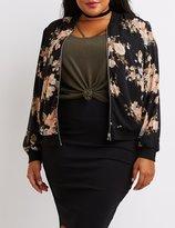 Charlotte Russe Plus Size Floral Bomber Jacket