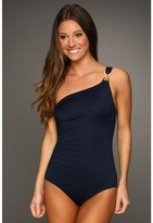 MICHAEL Michael Kors Linked Solids One Shoulder Maillot (Navy) - Apparel