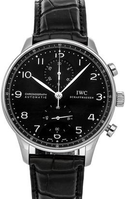 IWC Black Stainless Steel Portugieser Chronograph IW3714-38 Men's Wristwatch 41 MM