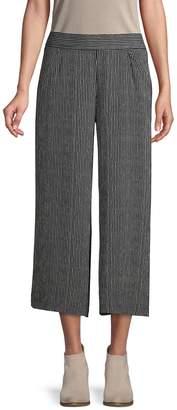 Max Studio Printed Wide-Leg Cropped Pants