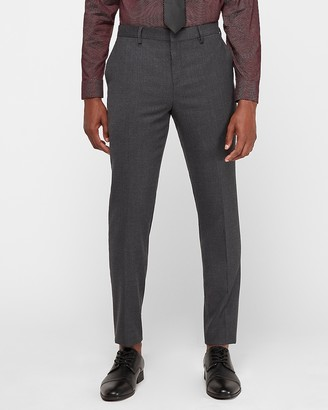 Express Slim Gray Flannel Wool-Blend Suit Pant