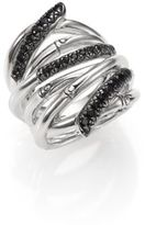 John Hardy Bamboo Black Sapphire & Sterling Silver Wide Multi-Row Ring