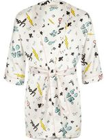River Island Girls Cream doodle print dressing gown