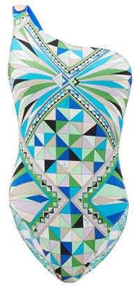 Emilio Pucci One-shoulder Printed Swimsuit - Green Print
