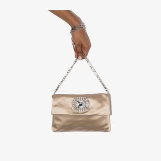 Jimmy Choo neutral Titania jewelled satin clutch bag