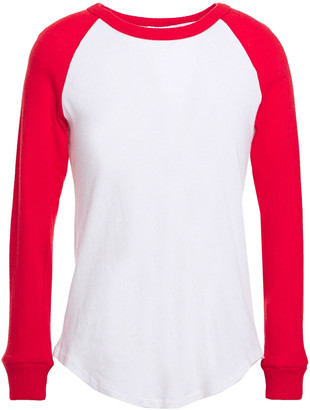 Enza Costa Two-tone Cotton And Cashmere-blend Jersey Top