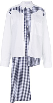 J.W.Anderson double placket gingham patchwork shirt