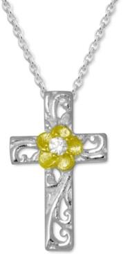 "Kona Bay Cubic Zirconia Cross & Flower Pendant Necklace in Fine Silver-Plate & Gold-Plate, 16"" + 2"" extender"