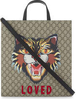 Gucci Angry Cat Print Supreme Canvas Tote