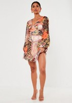 Missguided Peach Floral Animal Print Satin Corset Mini Dress