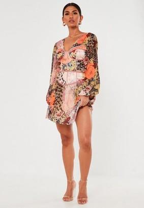 Missguided Floral Animal Print Satin Corset Mini Dress