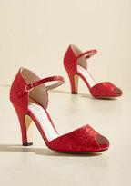 The Sole Works Peep Toe Heel in Scarlet in 36