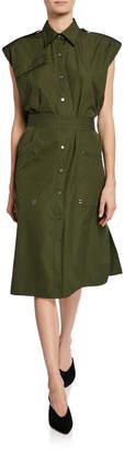 Derek Lam Sleeveless Belted Button-Front Utility Dress