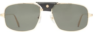 Cartier Leather-patch Aviator Metal Sunglasses - Gold