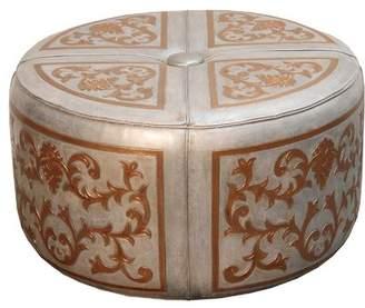 Fleur De Lis Living Rhone Baroque Leather Pouf Ottoman Fleur De Lis Living