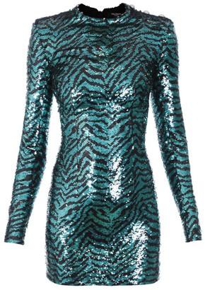 Balmain Zebra Print Sequinned Dress