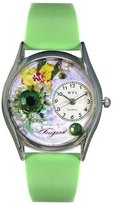 Whimsical Watches Women's S0910008 Imitation Birthstone: August Light Green Leather Watch