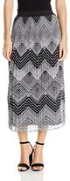 Notations Women's Petite Size Printed Pleated Skirt