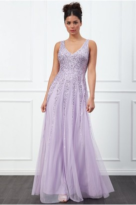 Goddiva Sunray Lavender Sequin Maxi Dress