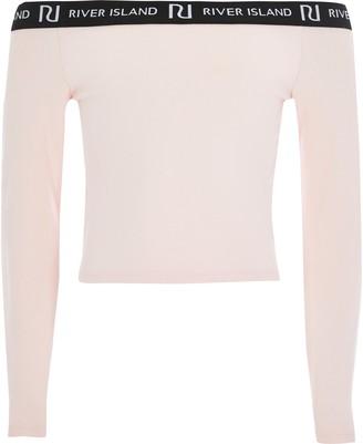 River Island Girls Pink long sleeve bardot top