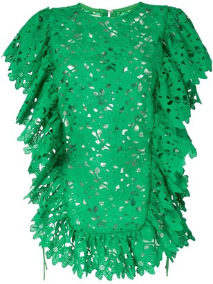 Bambah Kelly ruffled lace tunic top