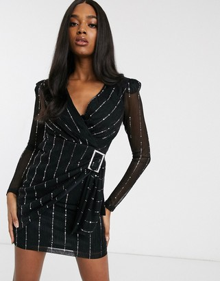 Forever U structured tux dress in metallic with belt in black