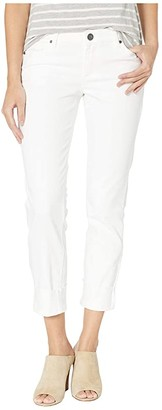 KUT from the Kloth Catherine Boyfriend Raw Hem in Optic White (Optic White) Women's Jeans