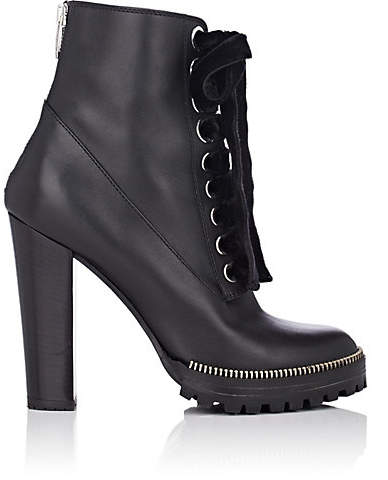 Sergio Rossi Women's Zipper-Trimmed Leather Ankle Boots - Black