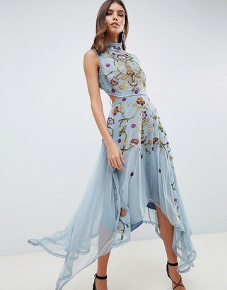ASOS DESIGN embroidered midi dress with hanky hem and lace up back