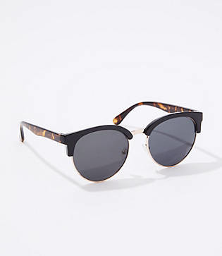 LOFT Tortoiseshell Print Trim Round Sunglasses