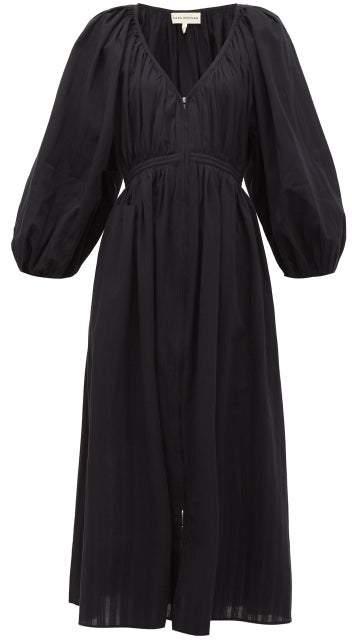 Mara Hoffman Simone Zipped Organic-cotton Midi Dress - Womens - Black