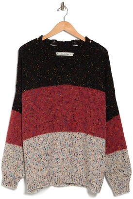 Boundless North Colorblock Speckled Balloon Sleeve Pullover Sweater