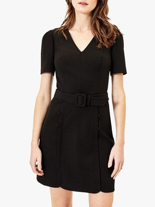 Oasis Button Shift Dress, Black